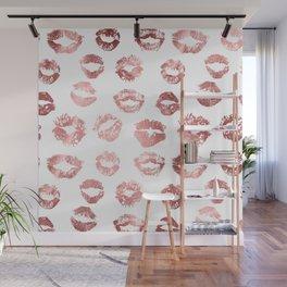 Girly Fashion Lips Rose Gold Lipstick Pattern Wall Mural