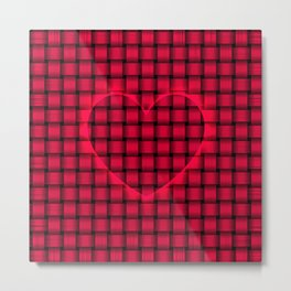 Red Heart w/Amaranth Weave Pattern Metal Print