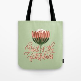 Great is thy faithfulness- Christian handlettered quote Tote Bag
