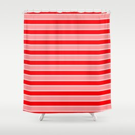 Large Horizontal Christmas Holiday Red Velvet and White Bed Stripe Shower Curtain