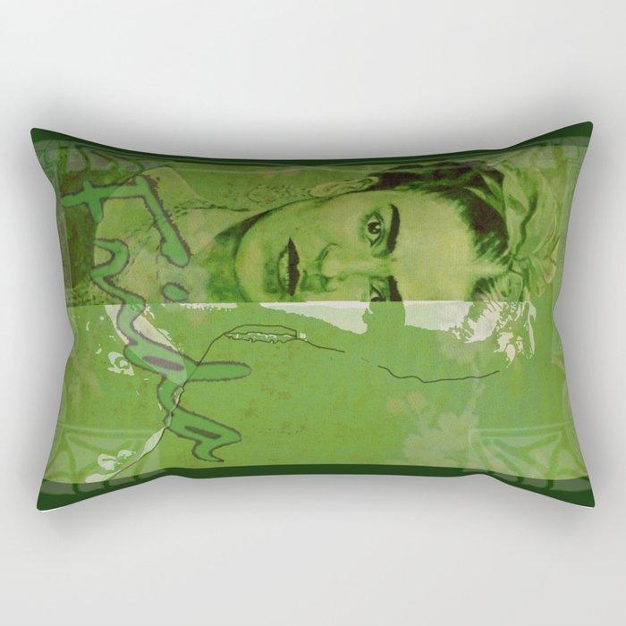 Frida Kahlo - between worlds - green Rectangular Pillow