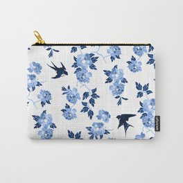 Oriental peonies in sapphire blue Carry-All Pouch
