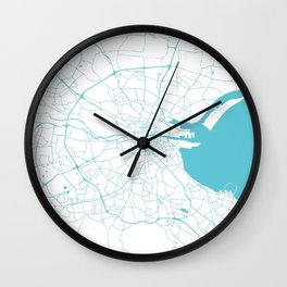 White on Turquoise Dublin Street Map Wall Clock