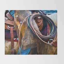 Tools of the Trade - Cowboy Saddle Closeup Throw Blanket