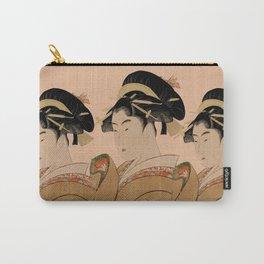 Vintage Japanese Ukiyo-e Woodblock Print Woman Portrait V Carry-All Pouch