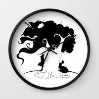 jane eyre Wall Clocks featuring JANE EYRE by Ekaterina Drozdova