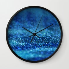 Aqua Glitter effect- Sparkling print in different blue Wall Clock