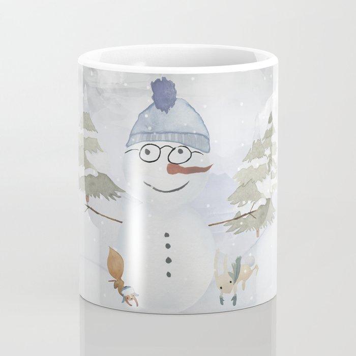 Winter Wonderland - Funny Snowman and friends - Watercolor illustration Coffee Mug