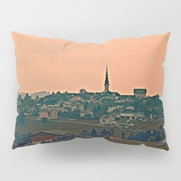 Hazy scenery with beautiful village skyline | landscape photography Pillow Sham