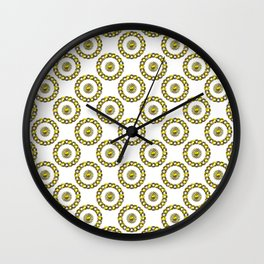 Gold and Silver Polka Dot Mandala Rings Pattern Wall Clock
