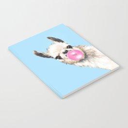 Bubble Gum Sneaky Llama in Blue Notebook