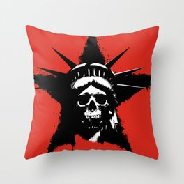 Statue of Liberty Skull Throw Pillow