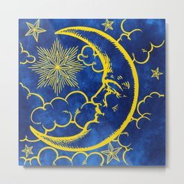 Moon vintage yellow Metal Print
