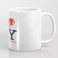 religious Mugs featuring Luv New York Religious Freedom by The Mindful