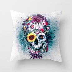 Skull Blue Throw Pillow