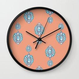 Jewelbox: Aquamarine Brooch on Coral Spice Wall Clock