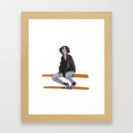 Girl in a mood Framed Art Print