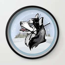 dog in snow Wall Clock