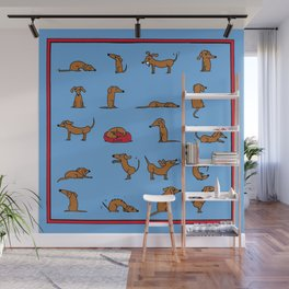 Sausage the Dog: Blue Print Wall Mural