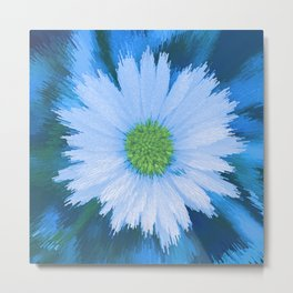 Ice Blue Daisy Abstract Metal Print