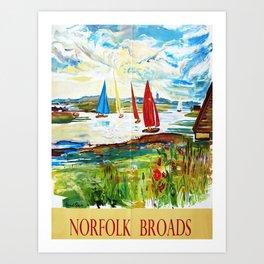 retro Norfolk Broads retro poster Art Print