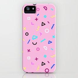 Pink Background Memphis Design iPhone Case