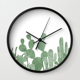 Green cactus garden on white Wall Clock