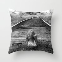 doll Throw Pillows featuring Doll by nihilnihilnihil