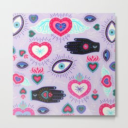 Milagro love heart - Lavender Metal Print