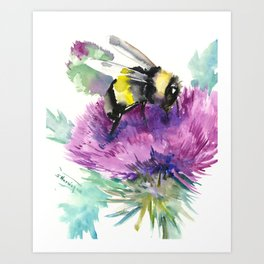 Bumblebee and Thistle Flower, honey bee floral Art Print