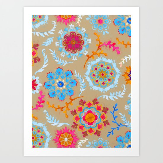 Brown Sugar Suzani Inspired Pattern Art Print