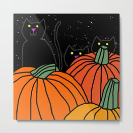 Halloween Black Cats in the Pumpkin Patch at Night Metal Print