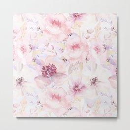Pastel Summer Flower Watercolor Pattern Metal Print