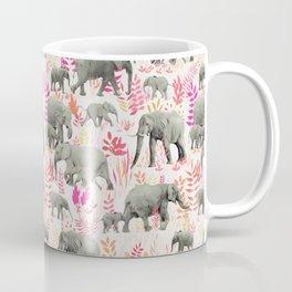 Sweet Elephants in Pink, Orange and Cream Coffee Mug