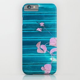 blue wooden wall pink jasmine minimal iPhone Case