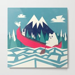 Yeti and bunny going on an adventure Metal Print