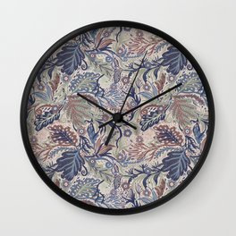 Muted Colors Flower Field, Soft Moss Green Leaves &  Intricate Petrol Blue Floral Blooms Pattern Wall Clock