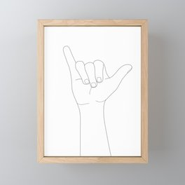 Minimal Line Art Shaka Hand Gesture Framed Mini Art Print