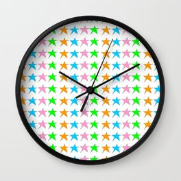 multicolor stars-sky,light,rays,hope,pointed,mystical,estrella,nature,spangled,girly,gentle,star,sun Wall Clock