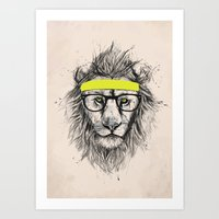 hipster lion Art Prints featuring Hipster lion (light version) by Balazs Solti