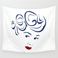 lucy Wall Tapestries featuring Lucy - Hairography (Lucille Ball) (I Love Lucy) by amejean