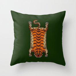 TIBETAN TIGER RUG-green Throw Pillow