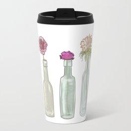 flowers in glass bottles . Pastel colors . Illustration / artwork Travel Mug