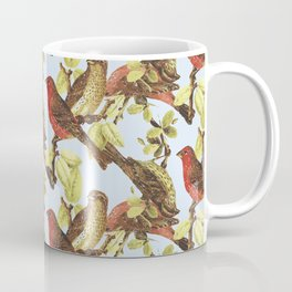 Vintage Retro Hipster Flowers and Birds Illustrated Pattern Coffee Mug