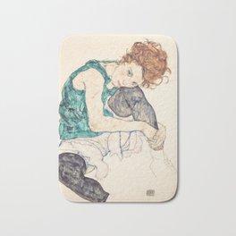 Sitting Woman With Legs Drawn Up Bath Mat