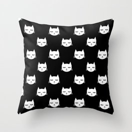Cat minimal illustration pet cats head drawing digital pattern black and white nursery art Throw Pillow