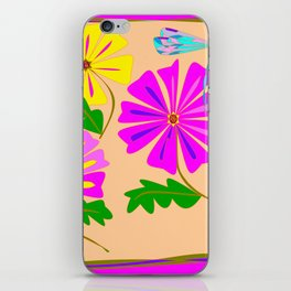 Three Summer Flowers with a Damselfly iPhone Skin