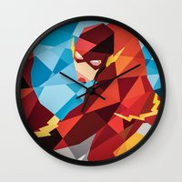 dc comics Wall Clocks featuring DC Comics Flash by Eric Dufresne