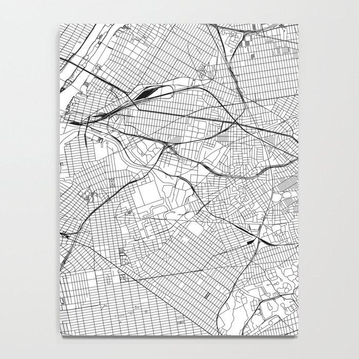 New York City White Map Notebook