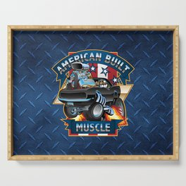 American Built Muscle - Classic Muscle Car Cartoon Illustration Serving Tray